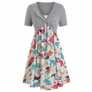Photo of Plus Size Dinosaur Print Ruffled Dress With Twist Top – GRAY