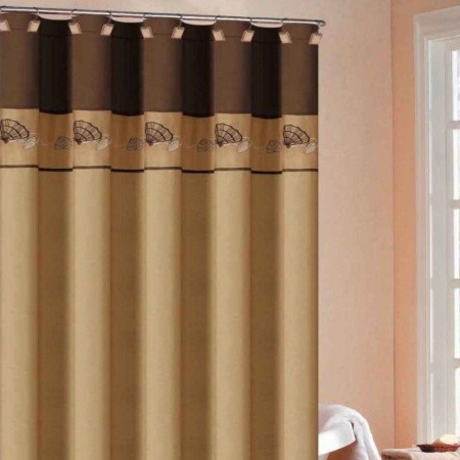 Dr international shell embroidered shower curtain in gold shsgd
