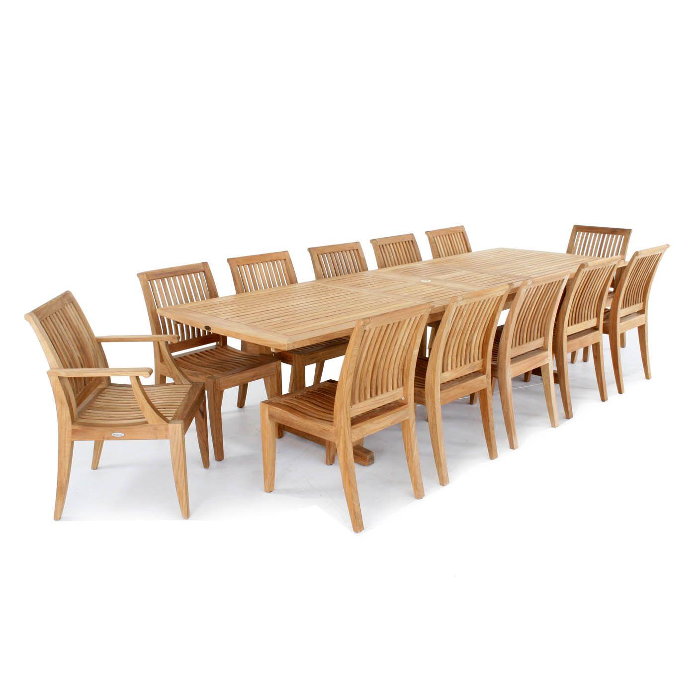 Grand Laguna 13 Pc Teak Dining Set Westminster Teak Teak Furniture Set Teak Outdoor Furniture Teak Furniture