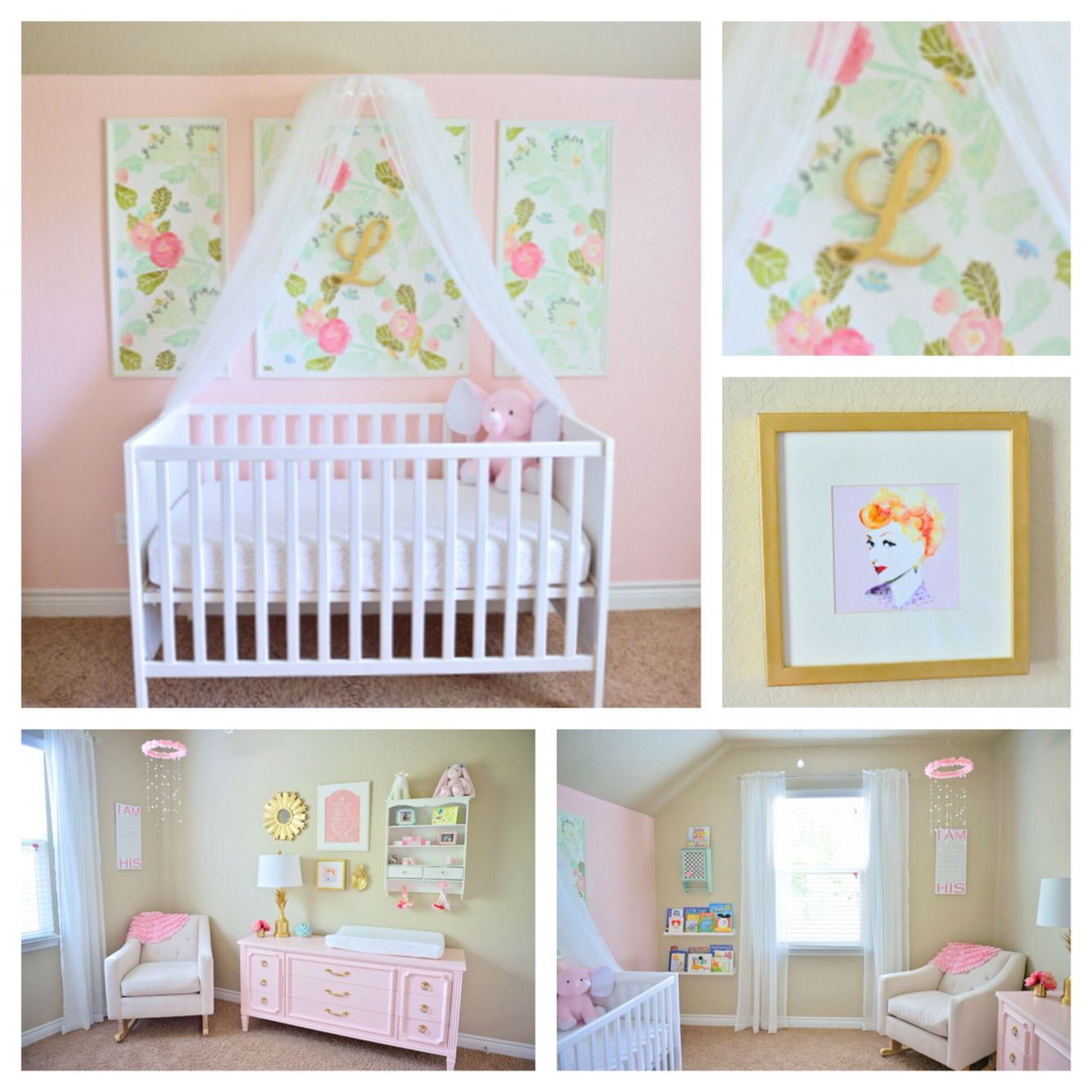 Lucy Victoria's pink floral nursery. Watercolor peony