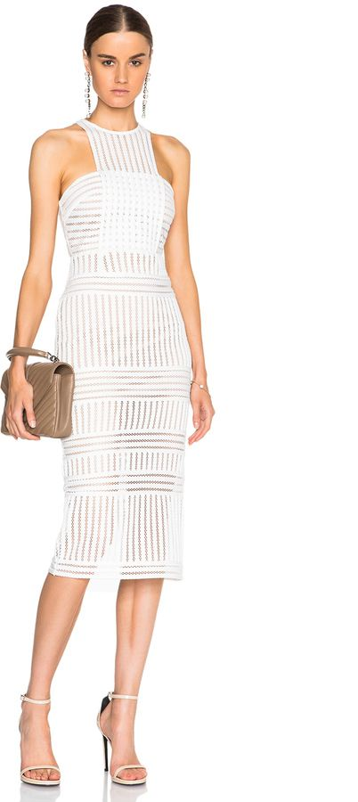 9b5b0c05b766 self-portrait Striped Mesh Dress | chic women's fashion outfit | white lace  dress outfit | white party outfit idea