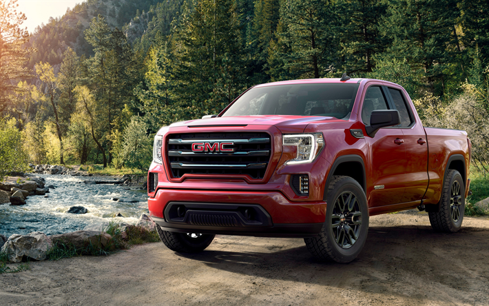 Download Wallpapers Gmc Sierra 2019 Elevation Doule Cab Front View Red Pickup Truck New Red Sierra American Suv Gmc Besthqwallpapers Com In 2020 Gmc Sierra 1500 Gmc Sierra Gmc Trucks