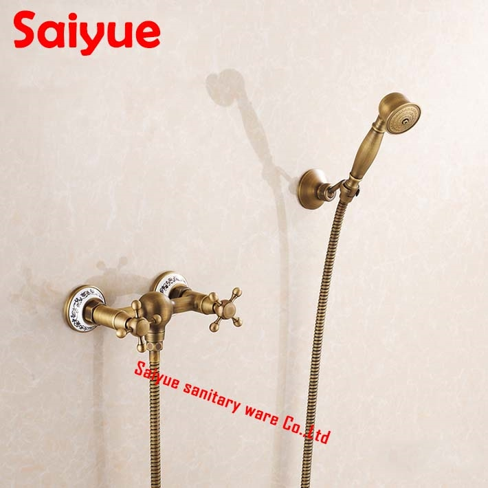 84.55$  Watch now - http://alic8x.worldwells.pw/go.php?t=32639698267 - Vintage Antique Brass Wall Mount Handheld Tub Shower Faucet shower mixer tap set  dual Handle Wall-Mount 84.55$