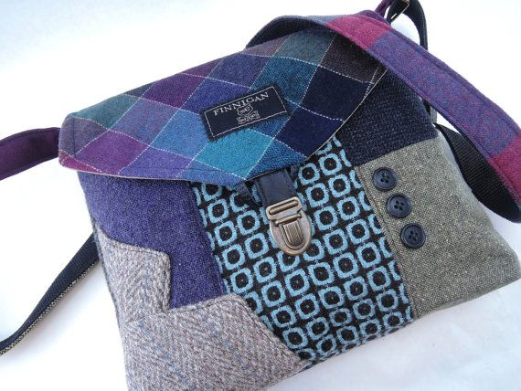 Items similar to Recycled Crossbody Purse, iPhone pocket,Recycled mens suit coat, Purple Berry  Wool, Eco Friendly, Womens Handbag, Tote bag on Etsy