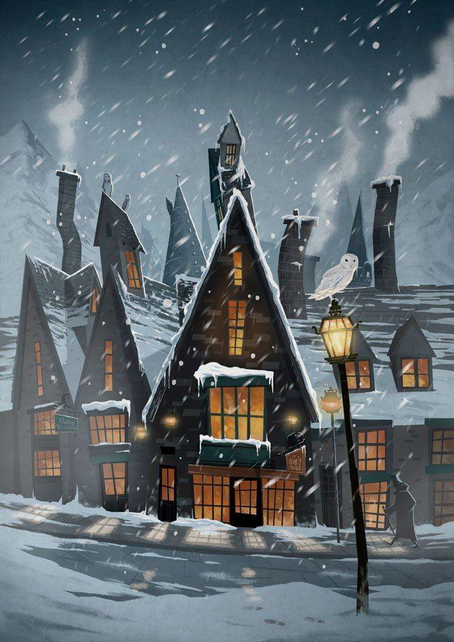 Улочка королевства Меридиан зимой | Хогвартс, Гарри поттер ...