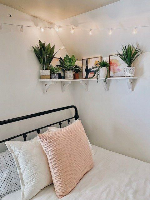 Cute Home Decor This was such a fun DIY and I share all the steps in this post so you can make one too. The faux summer plants arranged on the shelf create the perfect warm-weather decor vibe for this boho-glam bedroom. #prideinthemaking #handmadewithjoann.Cute Home Decor  This was such a fun DIY and I share all the steps in this post so you can make one too. The faux summer plants arranged on the shelf create the perfect warm-weather decor vibe for this boho-glam bedroom. #prideinthemaking #han