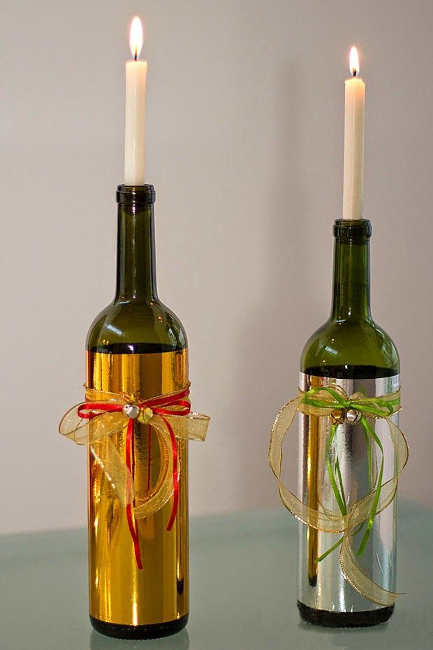 Transforming wine bottles into candles handmade for What can you do with empty wine bottles