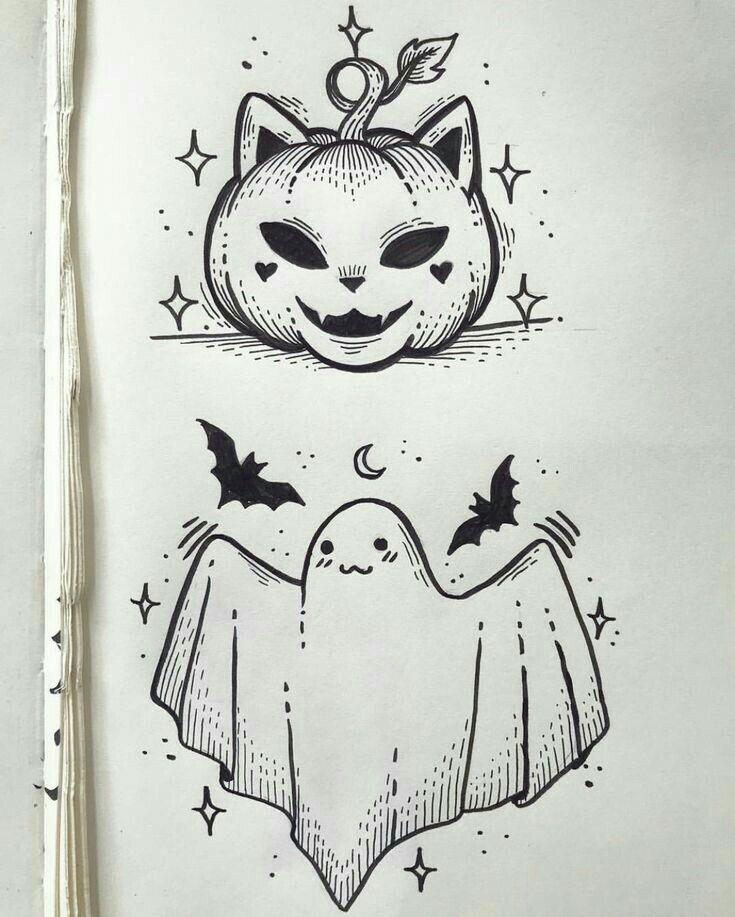 Desenhos faceis de halloween