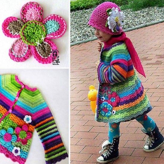 Crochet Girls Coat Is a Colourful Free Pattern | Häkeln, Glockenhüte ...