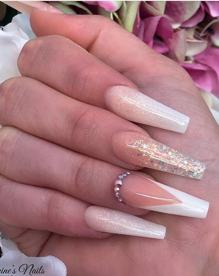 Theglitternail Get Inspired On Instagram Rose Gold Glitter Ombre With Stars On Long Coffin N Gold Acrylic Nails Rose Gold Nails White Nails With Gold