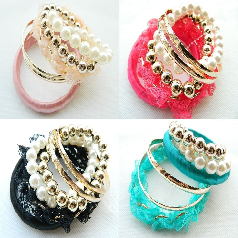 New Design Jewelry multilayer Lace Pearl beads Woman Party Bracelet Bangle Set #Handmade #Bangle