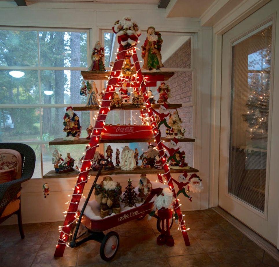 Vintage Christmas decorating using Santa's collected since 1970's #ladder #santa #barnwood #redwagon #cokecase #vintage #vintagechristmas #red