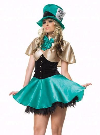 WD Lingerie - FANCY DRESS MAD HATTER COSTUME   MAD HATTERS OUTFIT   TEA  PARTY HOSTESS UNIFORM - SEXY 3 PC ADULT LADIES ALICE IN WONDERLAND COSTUMES  ... da61e1023b4b