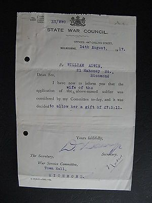 WW1 ANZAC SERVICEMAN  William Adwin 21 Mahoney Rd Richmond