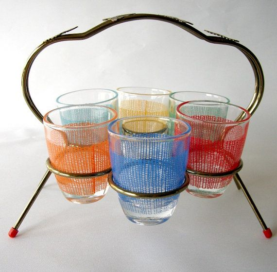 Mid Century Shot Glass Set in Metal Caddy by mish73 on Etsy, £12.00