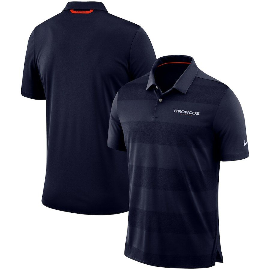 Men s Denver Broncos Nike Navy Sideline Early Season Wordmark Performance  Polo ddcb5bb15