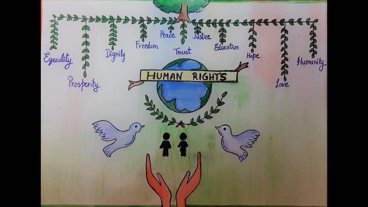 Human Rights Poster Drawing Human Rights Day Human Rights