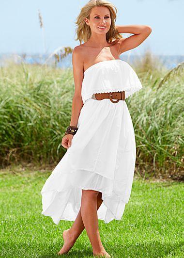 white ruffled summer dress with brown belt pinterest