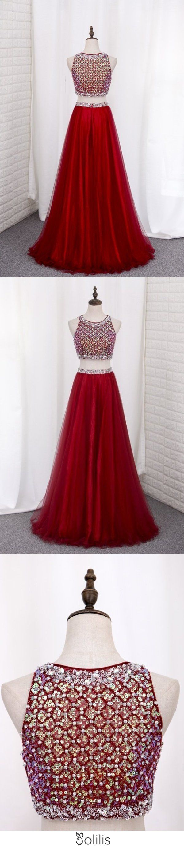 Two Pieces Bateau Prom Dress Beaded Bodice A Line Tulle ...