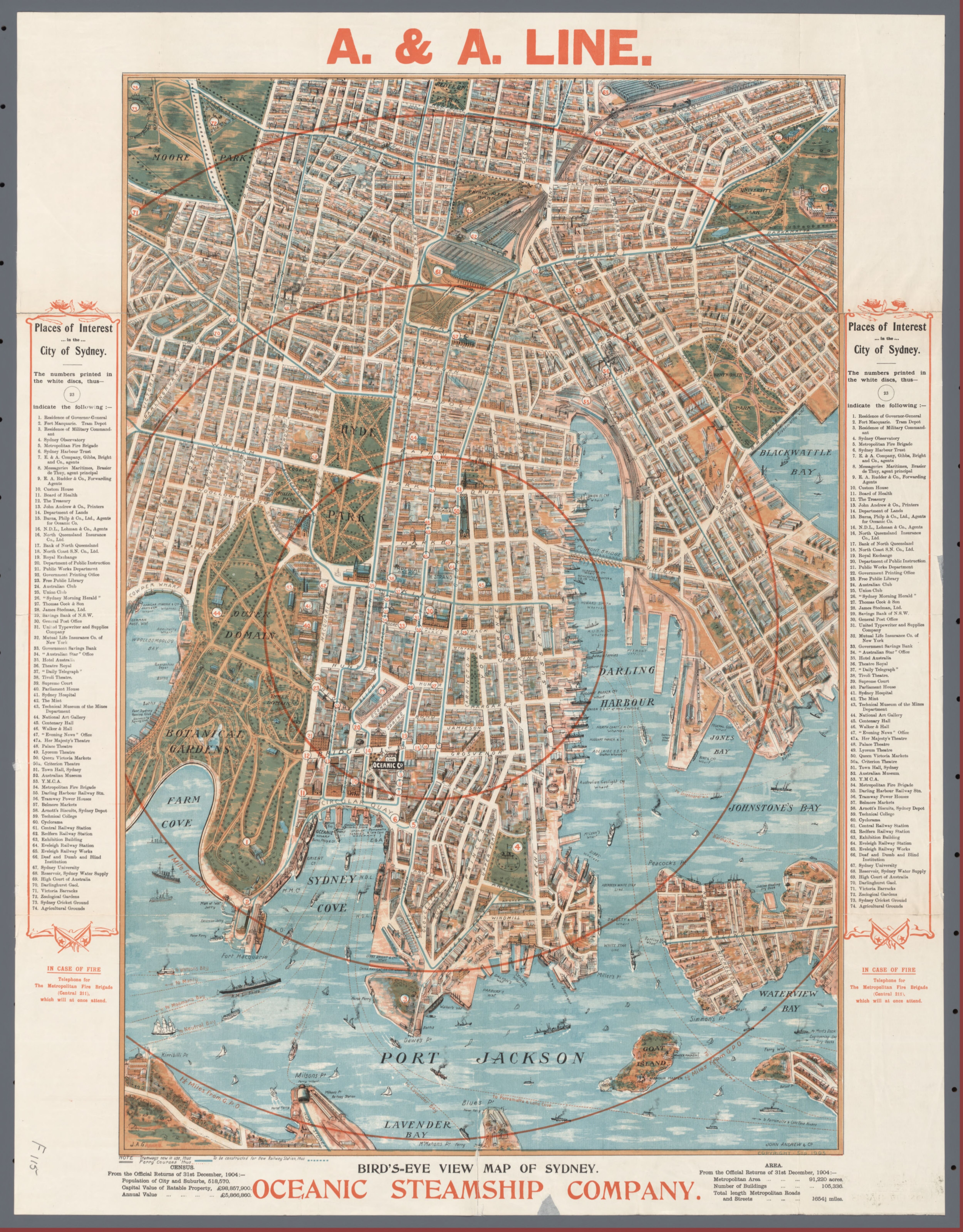 Sydney Australia Map City.Bird S Eye View Of Sydney Australia 1905 Old Sydney Maps