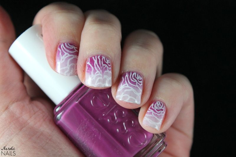Nerdic Nails. Rose nail art with gradient.