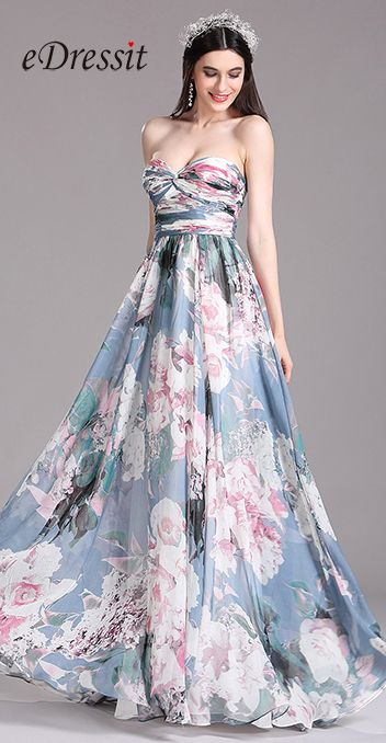e43b25fd820 USD 129.99  eDressit Printed Floral Strapless Pleated Evening Dress ...