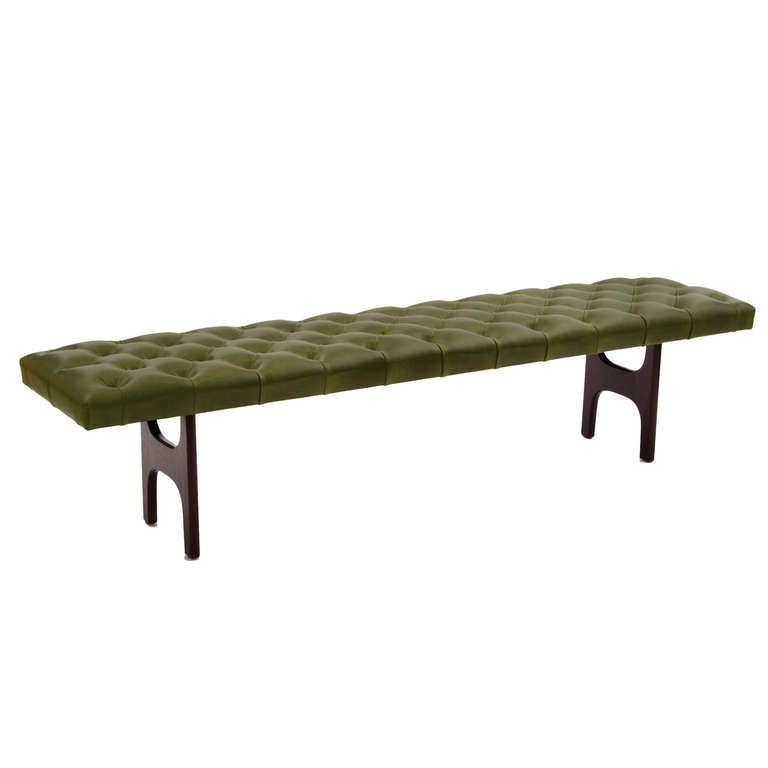 Diamond Tufted Kelly Green Leather & Mahogany Bench | From a unique collection of antique and modern benches at http://www.1stdibs.com/furniture/seating/benches/