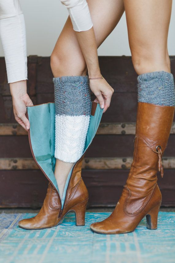 Reversible Boot Cuffs Knitted Two Color Cute by ThreeBirdNest