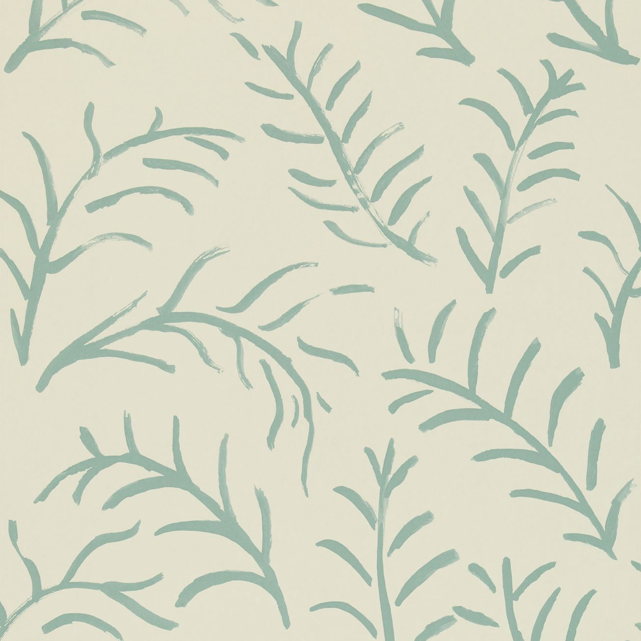 leaf wallpaper in ivory/teal from sanderson. bloomsbury collection.