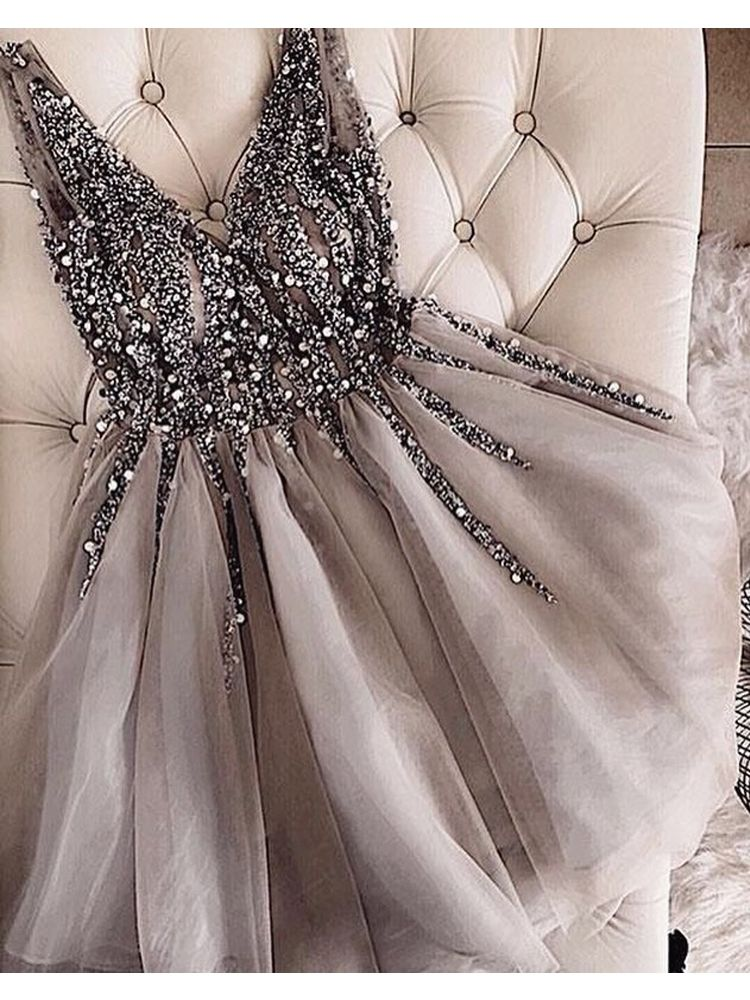 Charming V Neck A Line Grey Tulle Short Homecoming Dresses Beaded, Cute Short Prom Dresses