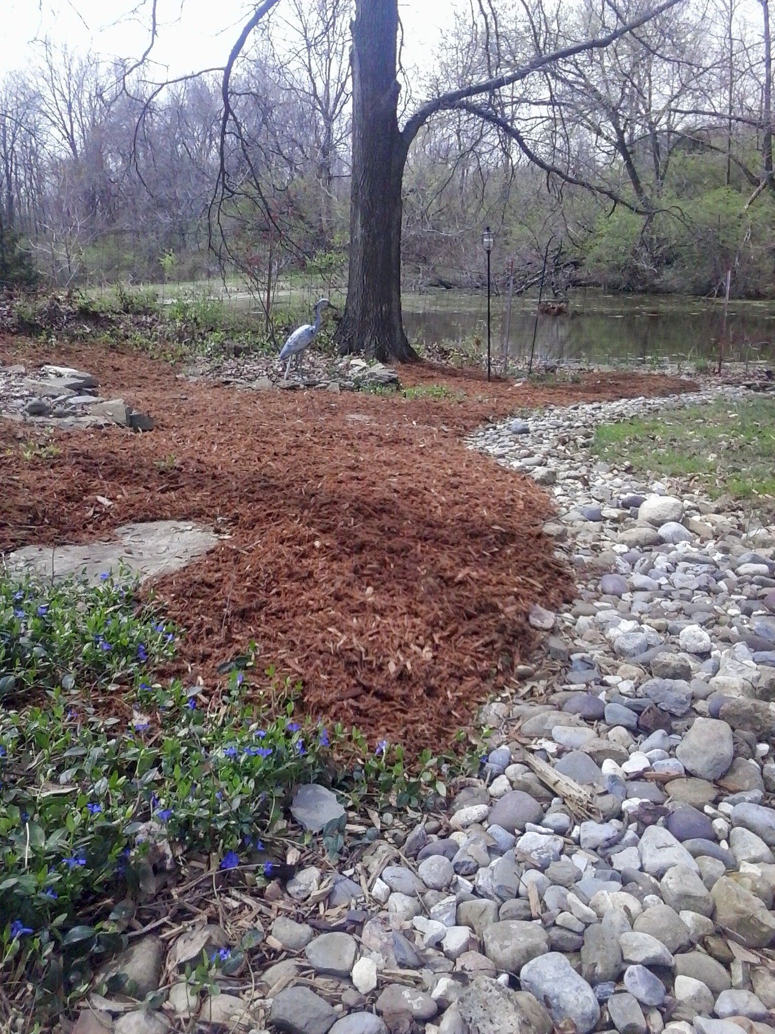 Landscape job 10 pine straw mulch and small creek for Garden maintenance jobs