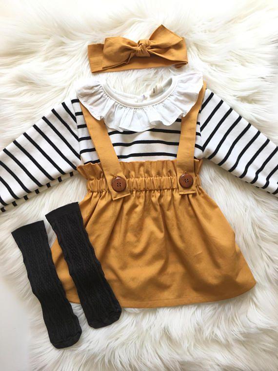 Photo of Girl's Gold Suspender Skirt, Toddler Vintage Style Jumper, Girls Fall Skirt with Straps, School Girl Jumper, High Waisted Skirt, Custom
