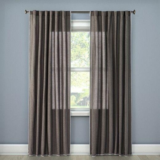 Stitched Edge Light Filtering Curtain Panel Threshold Panel
