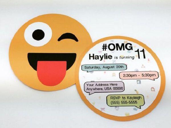 DIY Emoji Birthday Invitations