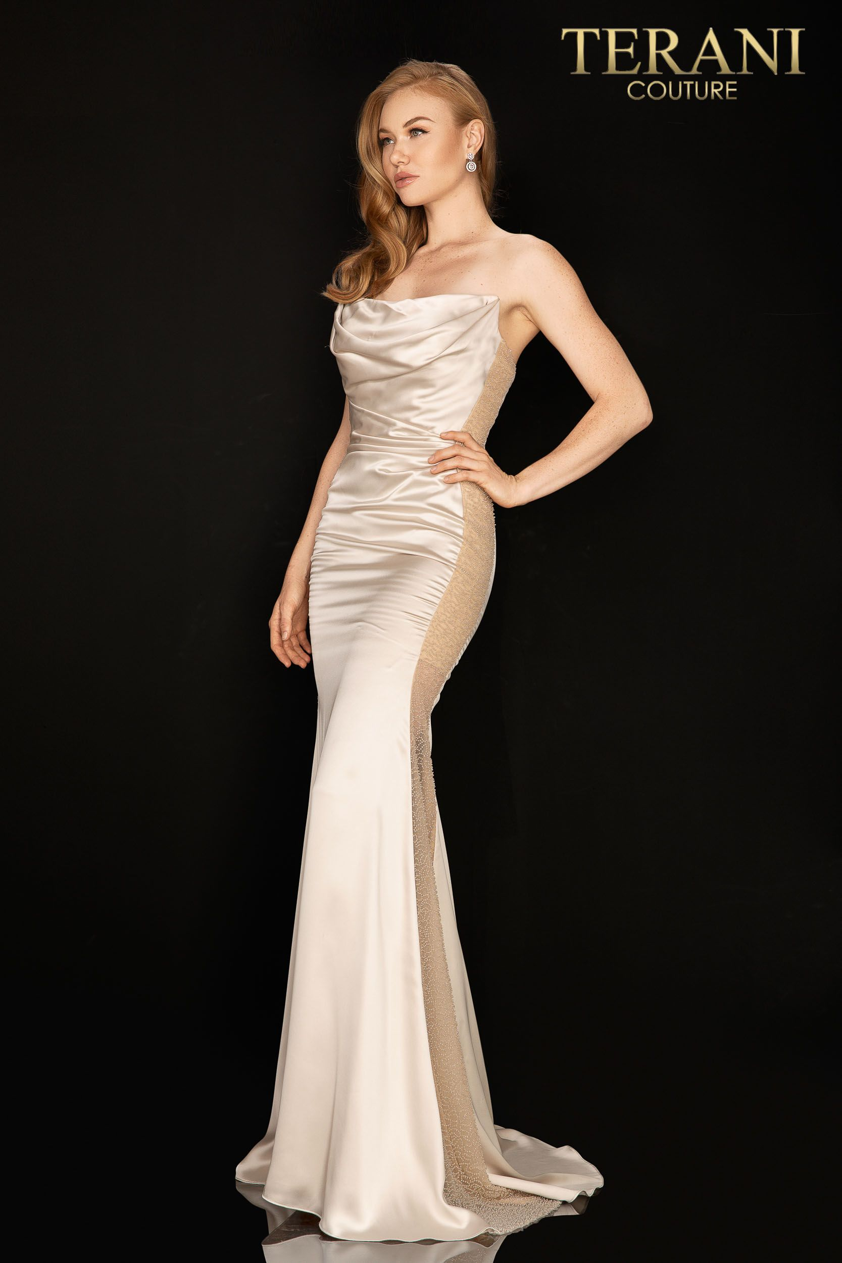 Terani Couture - 2012P1399 Strapless Straight Across