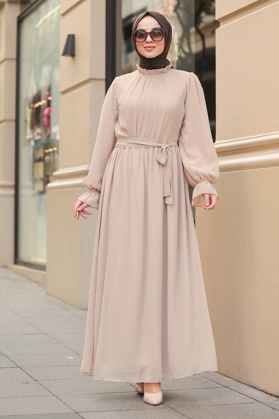 Photo of Neva Style – Bej Tesettür Elbise 51202BEJ