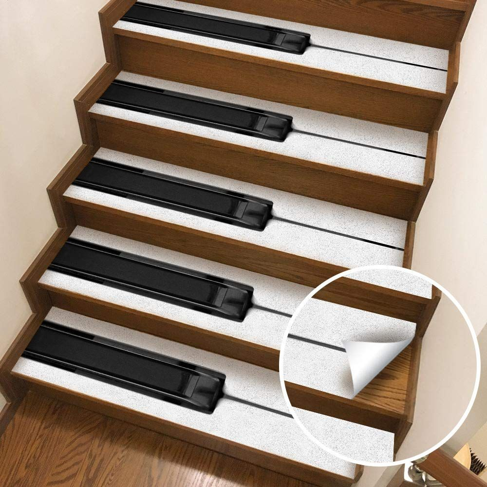 Piano Key Non Slip Stair Treads Piano Stairs Stair Stickers | Decorative Non Slip Stair Treads | Stair Railing | Washable | Rugs | Dirt Proof | Rubber Backing