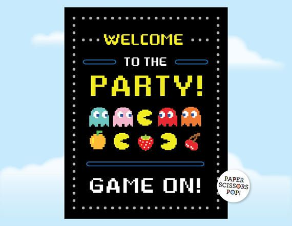Pac-man Party Welcome Sign Game On Party Poster Retro ...