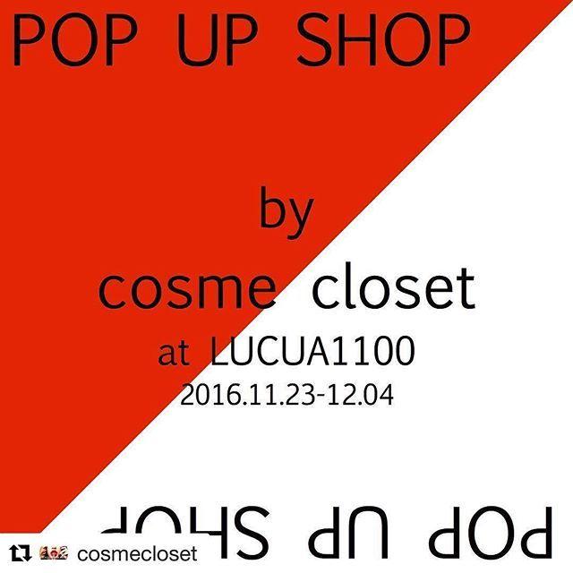 2016/11/16 20:15:52 aoihirayama 11/23〜12/4はルクア1100だよ💄  #Repost @cosmecloset with @repostapp ・・・ 〜POP UP info!〜 いつもcosme closetをご愛顧下さり有難うございます🙇🏻👏🏻 11/23(水)〜12/4(日)の12日間、急遽お話を頂き、POP UP開催!! 神戸北野に直営店をオープンし、2ヶ月✨ なかなか神戸まではいけなくて、、 というお客様にも、商品に触れていただく機会になれば幸いです❤️ 店頭限定のメイクアップアイテムなど、店頭でしかご覧頂けないプロダクトもございます✨  そして、直営店でcosme closetアーティストが施術するメイクアップメニューをPOP UPでも♪  POP UPでしか体験出来ないコンテンツやプロダクトが充実♪  是非遊びにいらしてください& ご来店お待ちしております! 〜cosme closet pop up〜  場所: ルクア1100 〒530-8558 大阪市北区梅田3丁目1ー3 ノースゲートビルディング…
