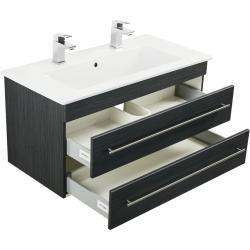 Badmobel Mit Villeroy Boch Venticello Doppelbecken 100 Cm Anthrazit Gemasertemotion 24 Anthrazit Ba In 2020 Bathroom Furniture Bathroom Decor Craft Storage Cabinets