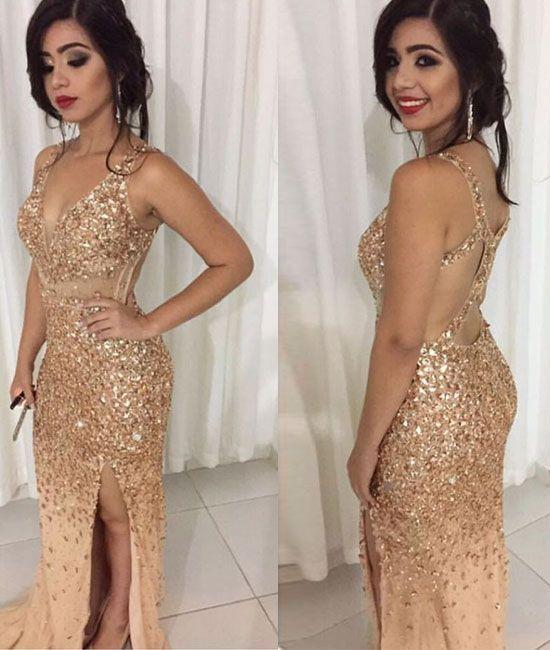 unique gold tulle rhinestones mermaid long prom dress