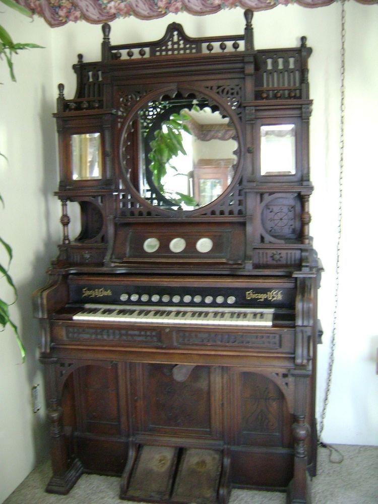 Antique Victorian Story \u0026 Clark Pump Organ Intricate Ornate Mirrored Doors Shelf & Antique Victorian Story \u0026 Clark Pump Organ Intricate Ornate Mirrored ...