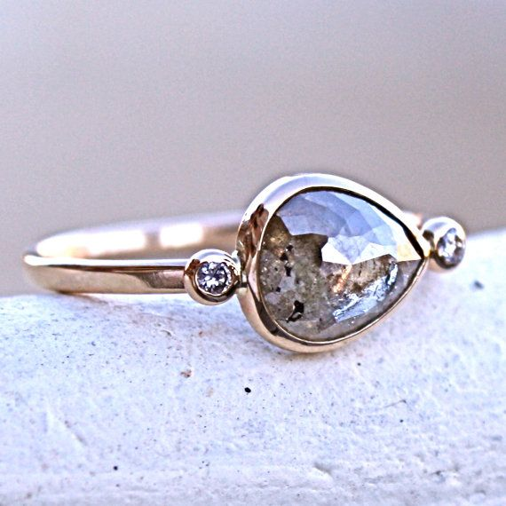 diamond engagement ring rose cut diamond by samanthamcintosh - Hippie Wedding Rings