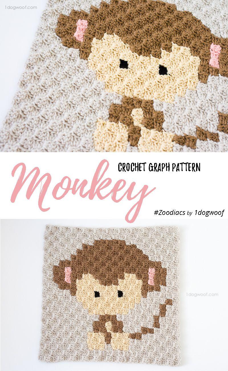 Zoodiacs Monkey C2C Crochet Graph | Manta, Cobija y Tejido