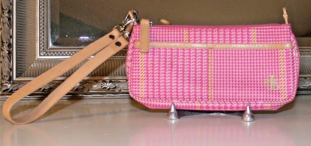 LAUREN RALPH LAUREN Pink   Green Houndstooth Wristlet Clutch Phone Purse   LaurenRalphLauren  Wristlet 29a4cd662d8cf