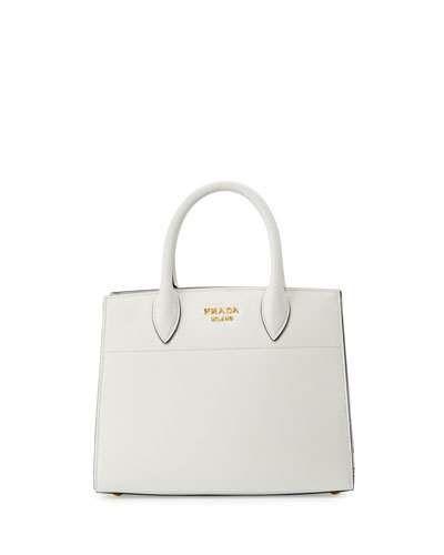 c9af28d0fcf06f V37MY Prada Bibliothèque Small Saffiano Tote Bag, White/Black (Bianco+Nero)