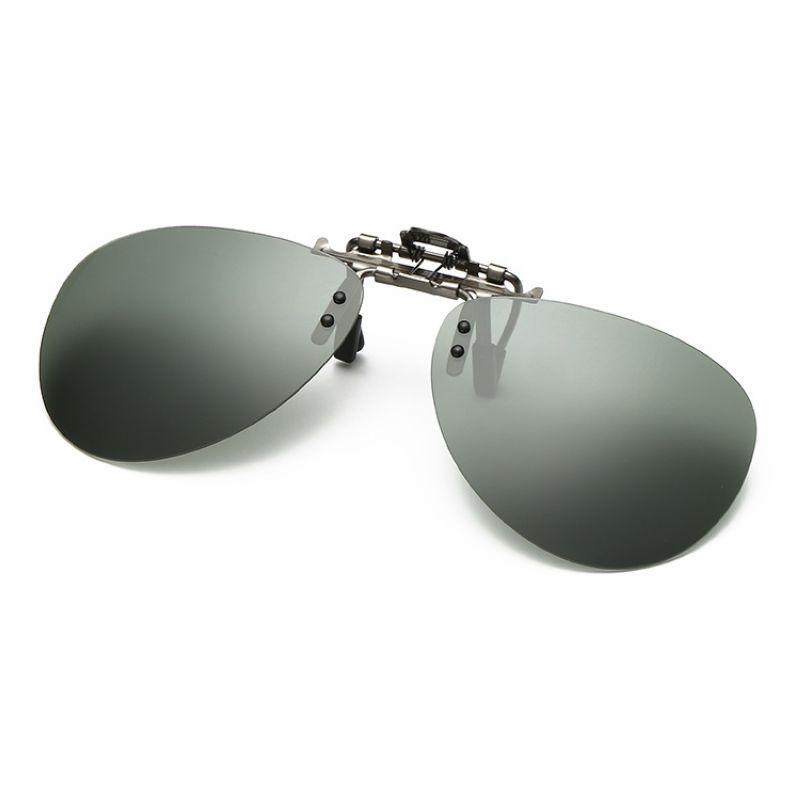 Z /& YQ Polarized Clip on Sunglasses Clip on Glasses Square Lens Men Women Replacement Lenses Mirror Clip Myopie Haute UV Taille Choix Night Vision Driving,Silver,L