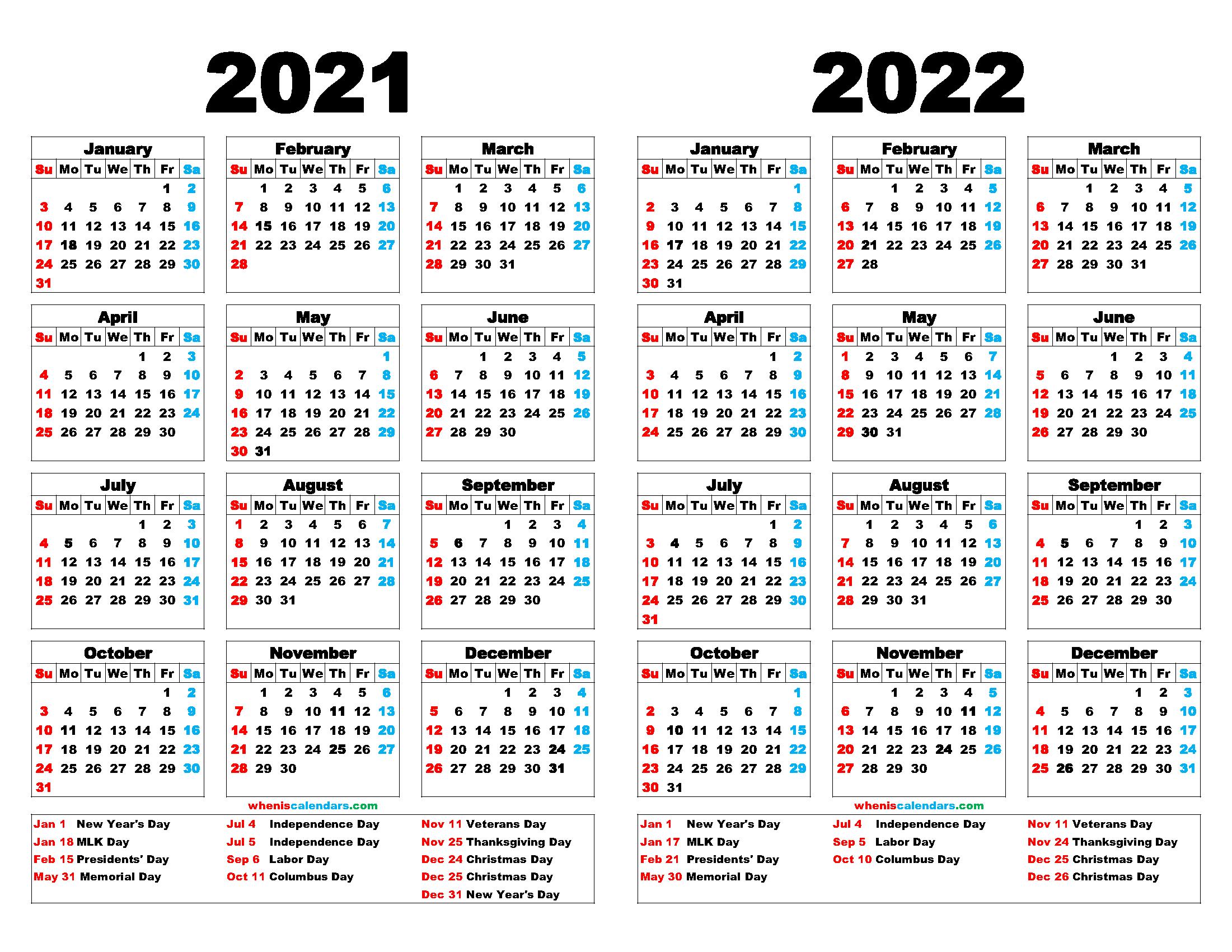 2021 And 2022 Calendar Printable 12 Templates Calendar Printables Calendar Calender Template