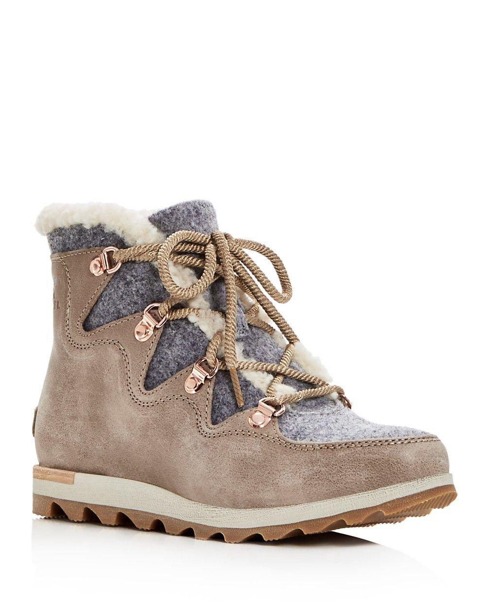 18e92a17760 SOREL Sorel Women's Sneakchic Alpine Shearling & Leather Lace Up Booties. # sorel #shoes #