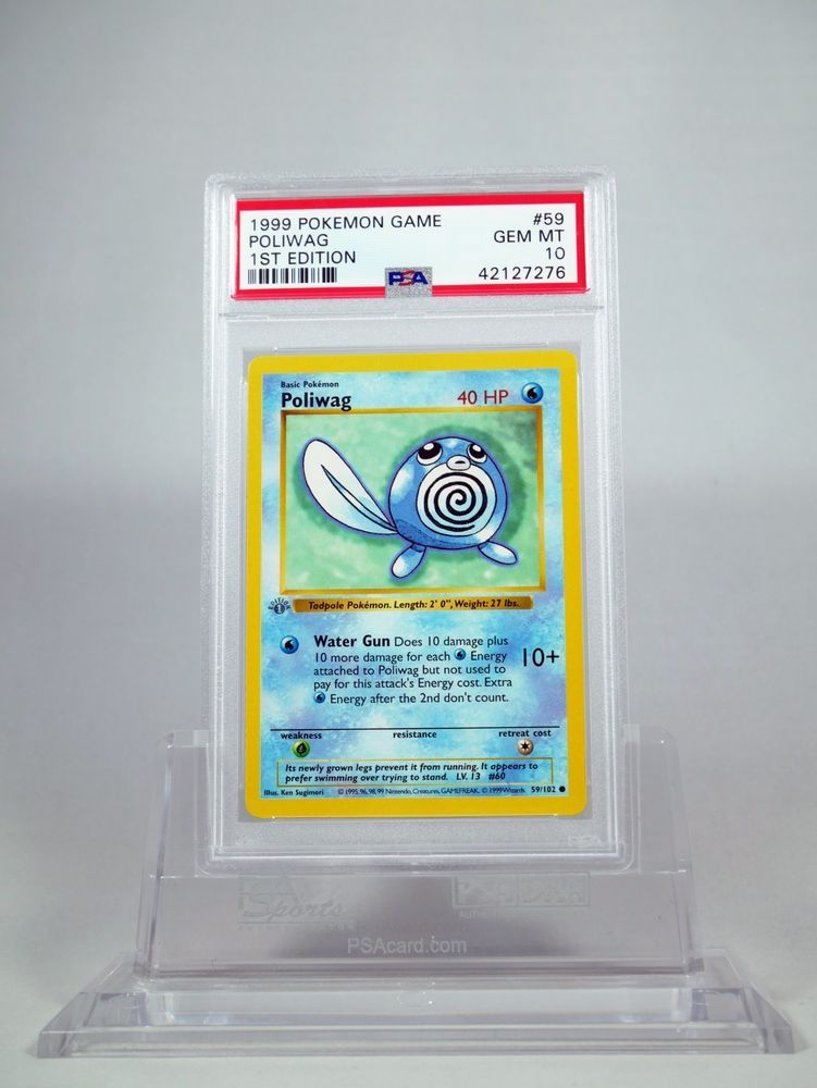 POKEMON BASE English SHADOWLESS CARD N°  59//102 POLIWAG